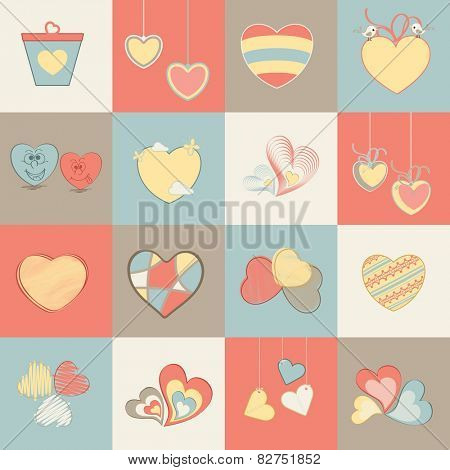Collection of different hearts for Valentine's Day celebration.
