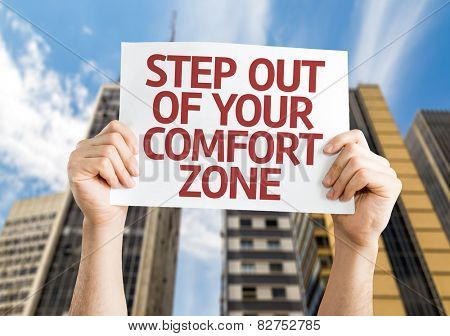 Step Out of Your Comfort Zone card with cityscape background