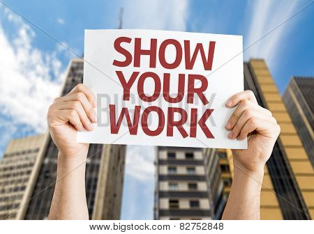 Show Your Work card with cityscape background