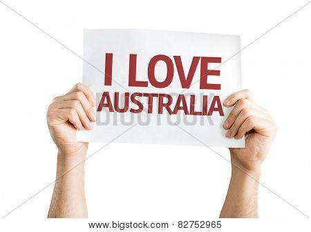 I Love Australia card isolated on white background