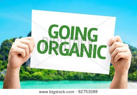 Going Organic card with beach background