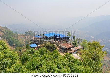 POKHARA, NEPAL - APRIL 2014 : The view point spot at World Peace Pagoda on 15 April 2014 in Pokhara, Nepal. The spot situated at the height of 1100 meters. People can view the Annapurna range, Pokhara