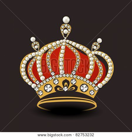 Stylish crown decorated with pearl and diamond on dark brown background.