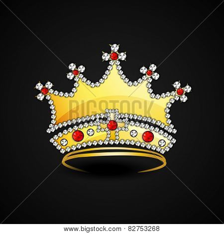 Golden crown decorated with jewels on black background.