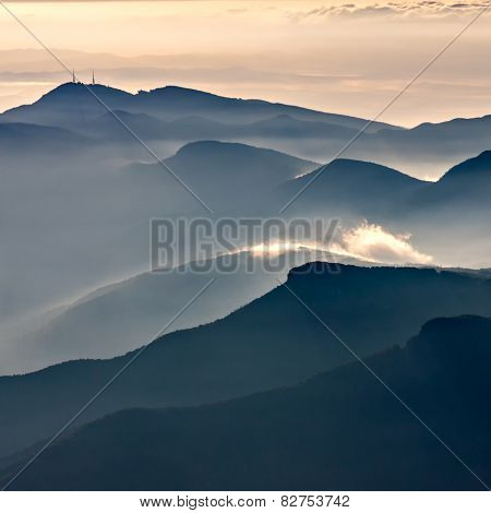 Misty Mountains Landscape In La Garrotxa, Catalonia