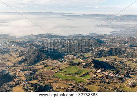 Winter Misty Landscape Early In The Morning  In La Garrotxa, Catalonia