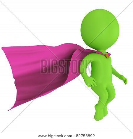 3D Brave Superhero With Purple Cloak Levitate Above