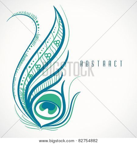 Beautiful stylish floral decorated peacock feather on shiny background.