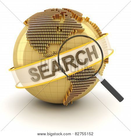 Search for global investment opportunity, 3d render