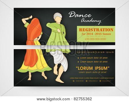 Dance academy header with illustration of dancing woman and man wearing traditional clothes.