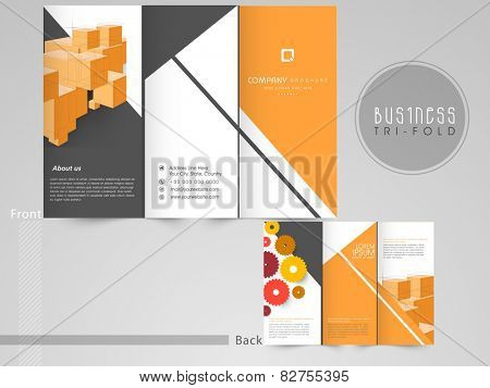 Professional business tri-fold, flyer, template or corporate brochure design with front and back page presentation.