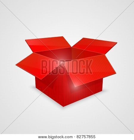 Color vector open box. red