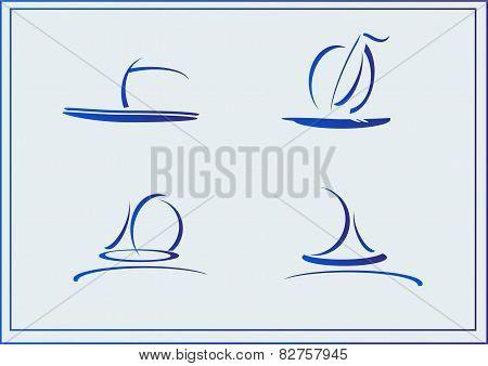 Vector Set of symbols yachts, ships