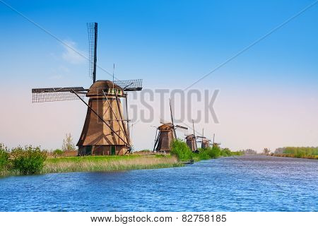 Kinderdijk windmills and canal
