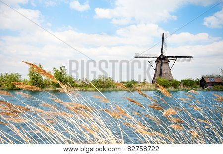 Water arrogation windmill view in Holland