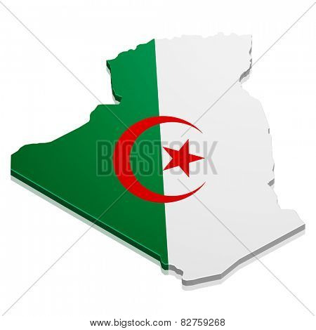 detailed illustration of a map of Algeria with flag, eps10 vector