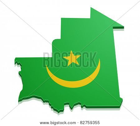detailed illustration of a map of Mauritania with flag, eps10 vector