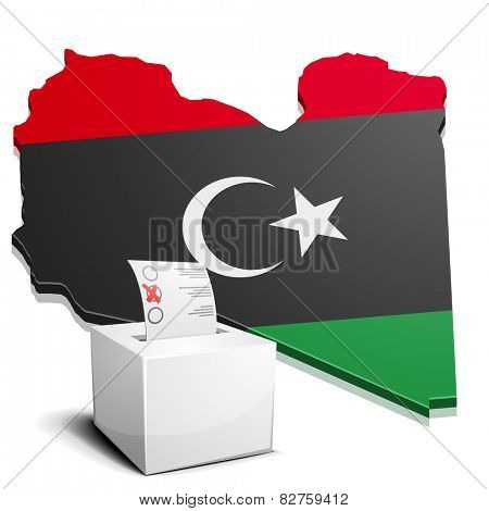 detailed illustration of a ballotbox in front of a map of Libya, eps10 vector