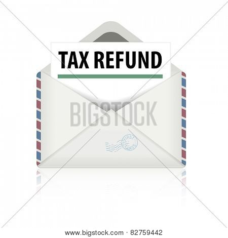 detailed illustration of an open envelope with tax refund letter, eps10 vector
