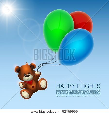Bear flies on the balloons