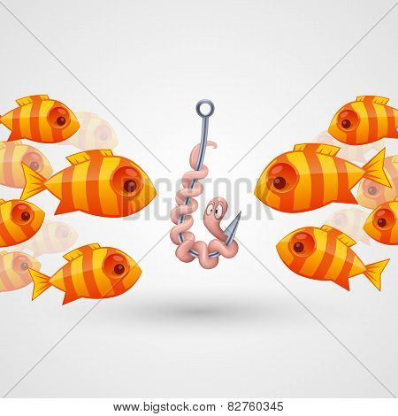 Peck on bait fish. Vector