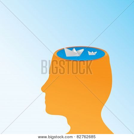 Paper Boats In Human Head