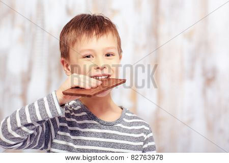 Portrait of little boy with a chocolate