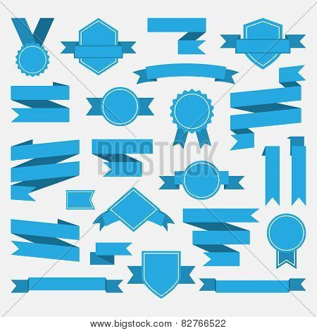 Blue ribbons,medal,award,set