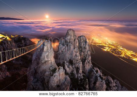 Mountain Ai-Petri. Night, Full Moon in Crimea