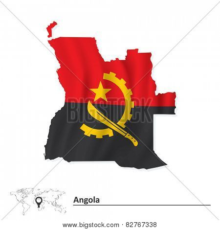 Map of Angola with flag - vector illustration