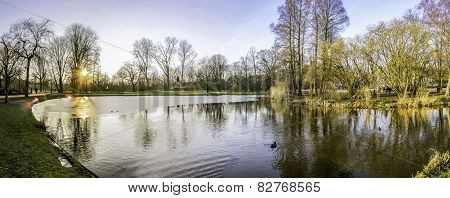 Pond Panoramic Landscape Photo In Vondelpark, Amsterdam. Is A Public Urban Park Of 47 Hectares (120