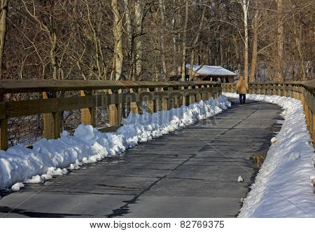walkway with railing on a bright snowy day