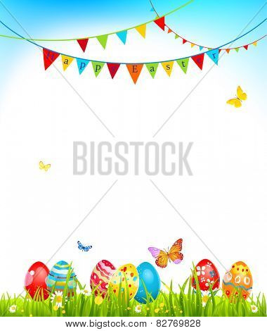 Easter holiday card with eggs on grass and flags.