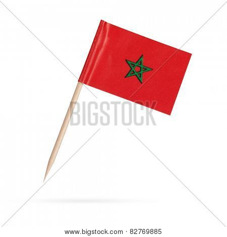 Miniature paper flag Morocco. Isolated Moroccan flag pointer on white background. With shadow below