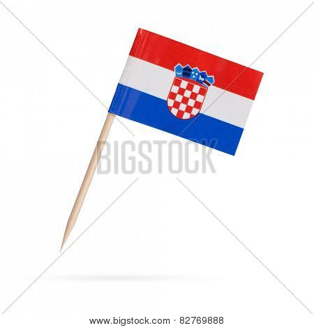 Miniature paper flag Croatia.  Isolated Croatian flag pointer on white background. With shadow below