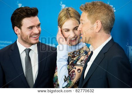 BERLIN, GERMANY - FEBRUARY 13: R. Madden, L. James, Kenneth Branagh, 'Cinderella' photocall.65th Berlinale International Film Festival at Grand Hyatt Hotel on February 13, 2015 in Berlin, Germany