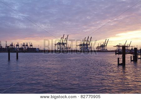 Hamburg - Port Of Hamburg In The Evening