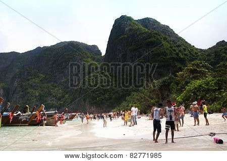 Tourists At Maya Bay