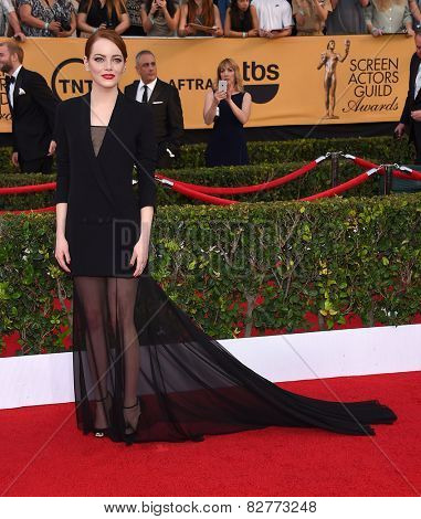 LOS ANGELES - JAN 25:  Emma Stone arrives to the 21st Annual Screen Actors Guild Awards  on January 25, 2015 in Los Angeles, CA