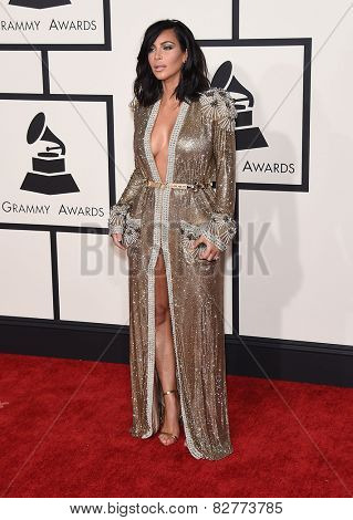 LOS ANGELES - FEB 08:  Kim Kardashian arrives to the Grammy Awards 2015  on February 8, 2015 in Los Angeles, CA