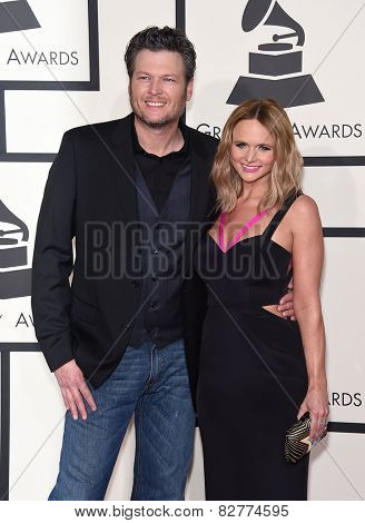 LOS ANGELES - FEB 08:  Blake Shelton & Miranda Lambert arrives to the Grammy Awards 2015  on February 8, 2015 in Los Angeles, CA
