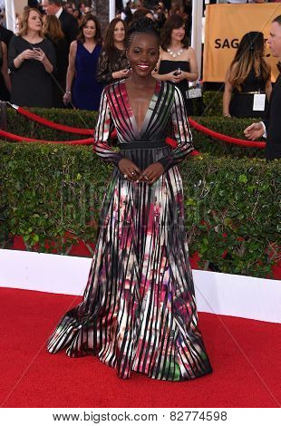 LOS ANGELES - JAN 25:  Lupita Nyong'o arrives to the 21st Annual Screen Actors Guild Awards  on January 25, 2015 in Los Angeles, CA
