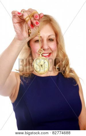 A trained Hypnotherapist puts You the viewer under her Hypnotic Spell as you gaze deeply onto the swinging gold watch. You are getting sleepy. You will buy this image. isolated on white