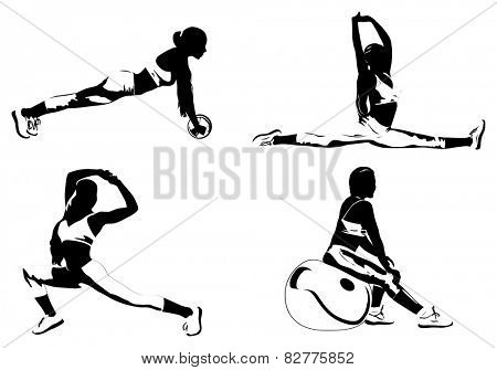 Young women fitness exercising silhouettes. EPS 10 format.