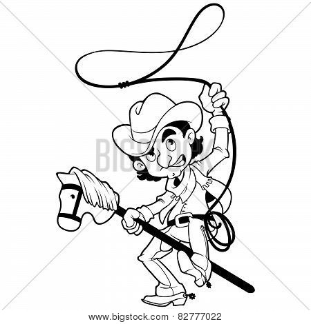 Cowboy With Lasso On A Stick-horse Outlined On A White Background