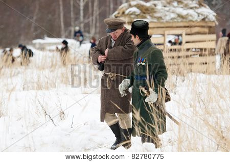 Civilian And Soldier Walking