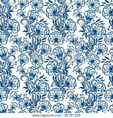 Seamless Blue Floral Pattern. Background In The Style Of Chinese Painting On Porcelain Or Russian Gz