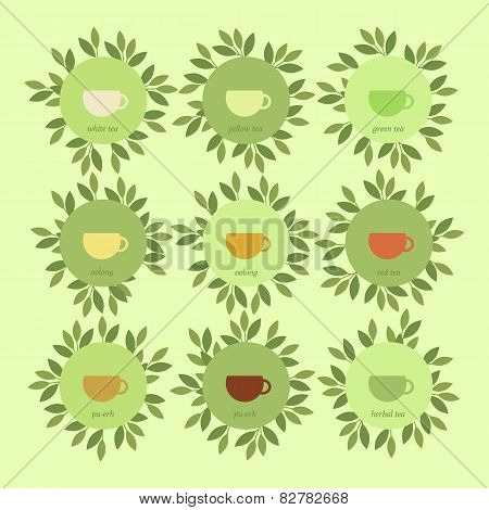 Banners With Cups Of Tea And Leaves