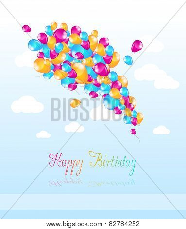 Happy Birthday Card With Inflatable Balloons
