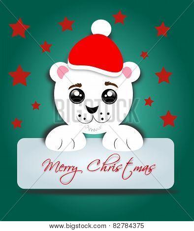 Polar Bear With Label Merry Christmas